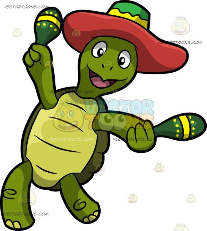A Dancing Mexican Turtle A Green Turtle With A Shell Wearing A Green With Yellow And Red Mexican Hat Smiles While Holding Two Green With Yellow Mara Skabeloner
