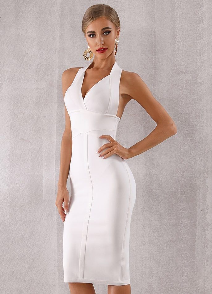 3d557b199796 White Bodycon Midi Dress Party Dress This dress gives you a classic and  elegant look Wear