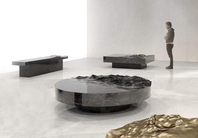 Ein surrealistisches design von mathieu lehanneur couchtisch aus