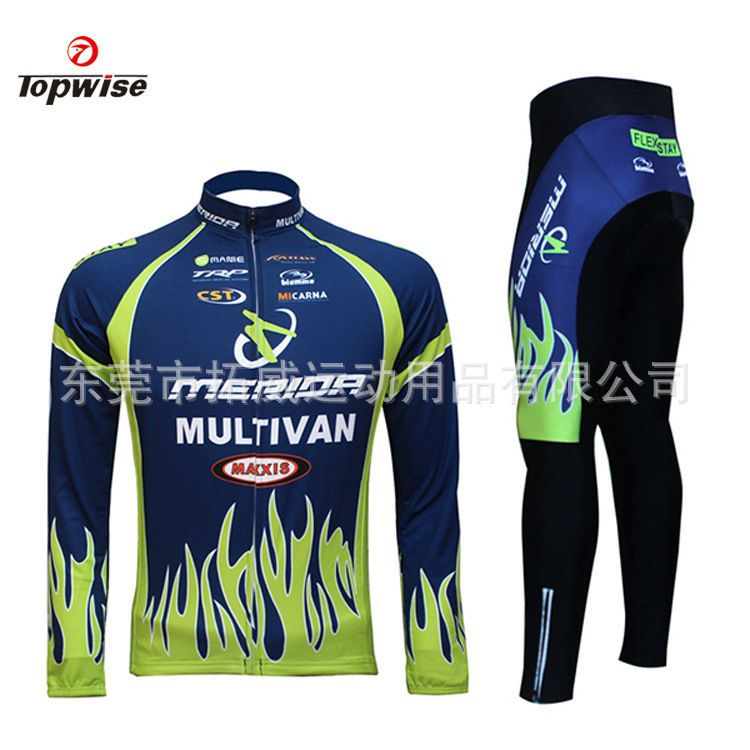 Merida Men/'s Cycling Long Pants /& Long Sleeve Cycling Jersey Blue Cycling Kit