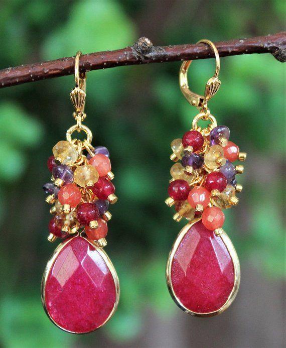 Ruby Earrings Gemstone Earrings Cluster Earrings