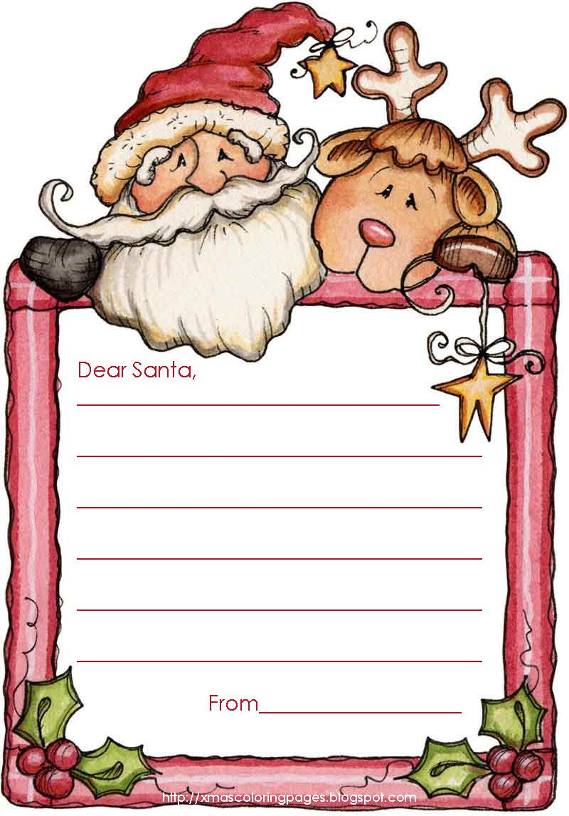 Letters To Santa   6 Free Templates To Print And Christmas Coloring Pages.  Microsoft Word Christmas Letter Template