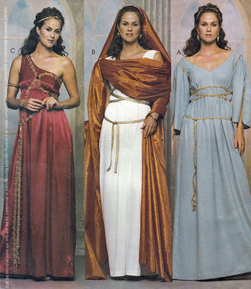 Mccall S 3514 Greek Roman Gown Toga Costume Sewing Pattern: Misses Greek Roman Dresses Gowns Veil Costume Cosplay SCA