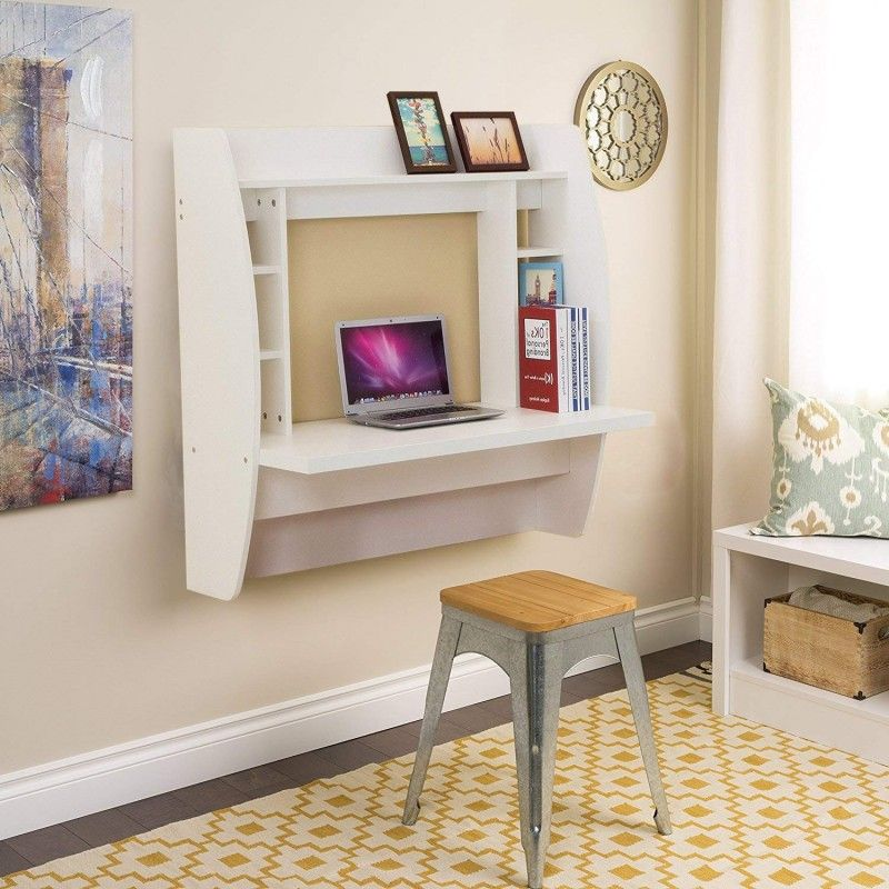 Wbhome Fur01wt Floating Desk With Storage Wall Mounted White