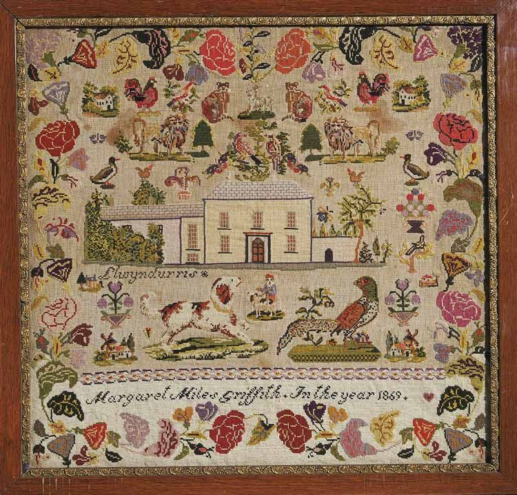 Sampler made in Llwyndyrus by Margaret Miles Griffith In the year 1869.