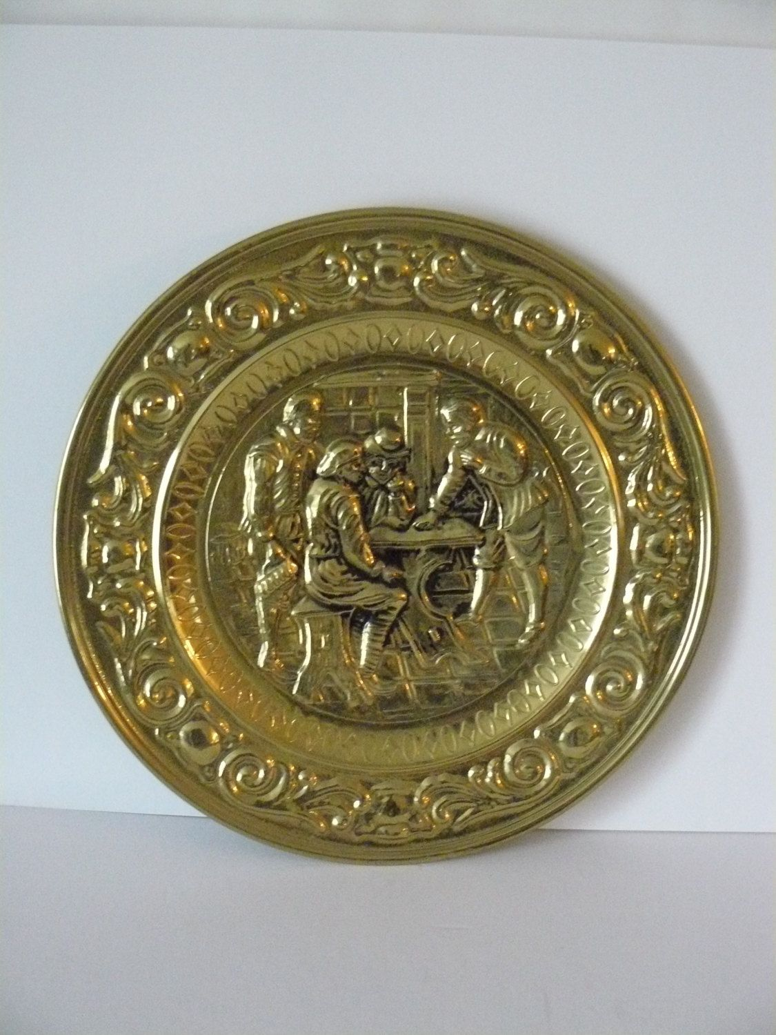 Hammered Brass Wall Plate Collectible Brass Bar Scene By
