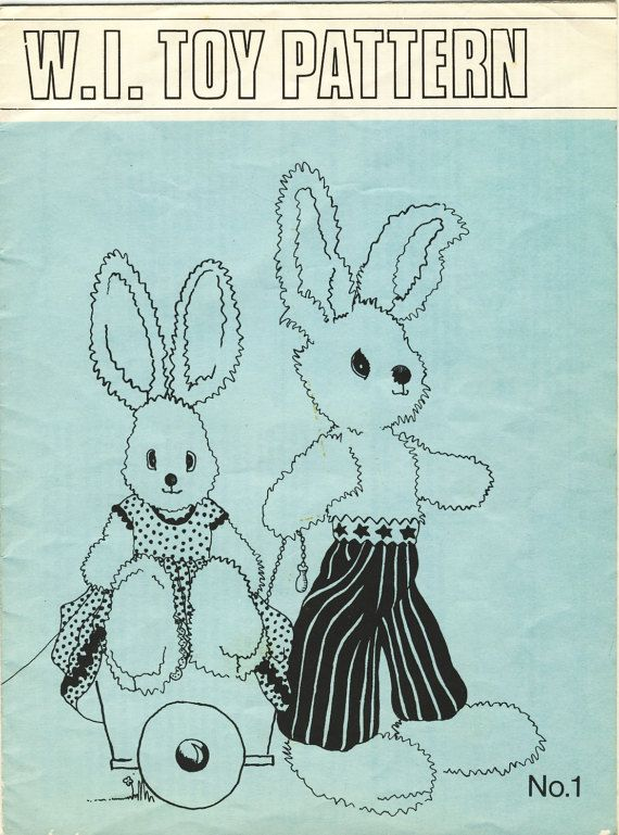 Rare Vintage Women s Institute Toy Rabbits Sewing Pattern from 1969.  Offered by Patternalia Vintage at Etsy. eace365d9