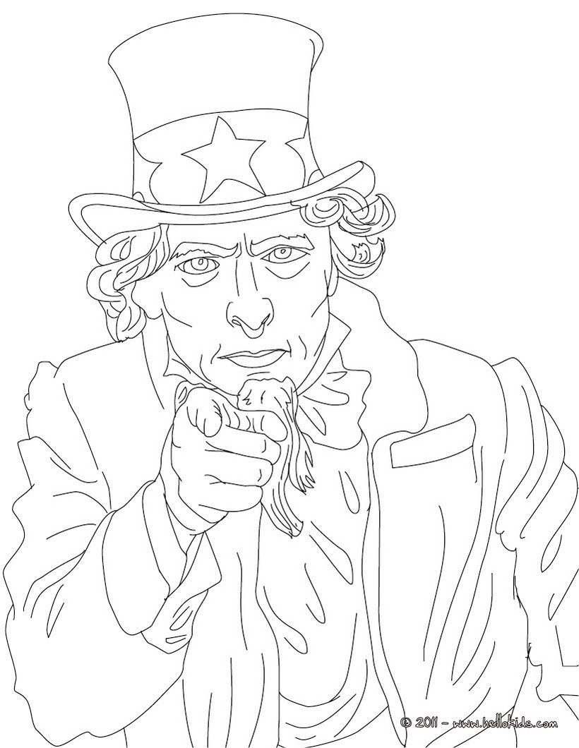 Uncle Sam Coloring Page With Images People Coloring Pages