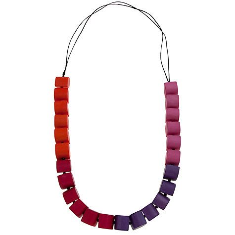 Buy One Button Long Wooden Thick Leaf Blocks Necklace Online at johnlewis.com