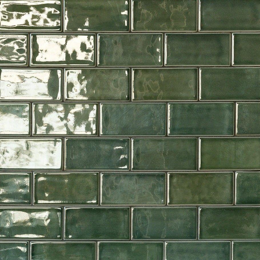 Nabi Deep Emerald 3x6 Green Ceramic Tile Green Subway Tile