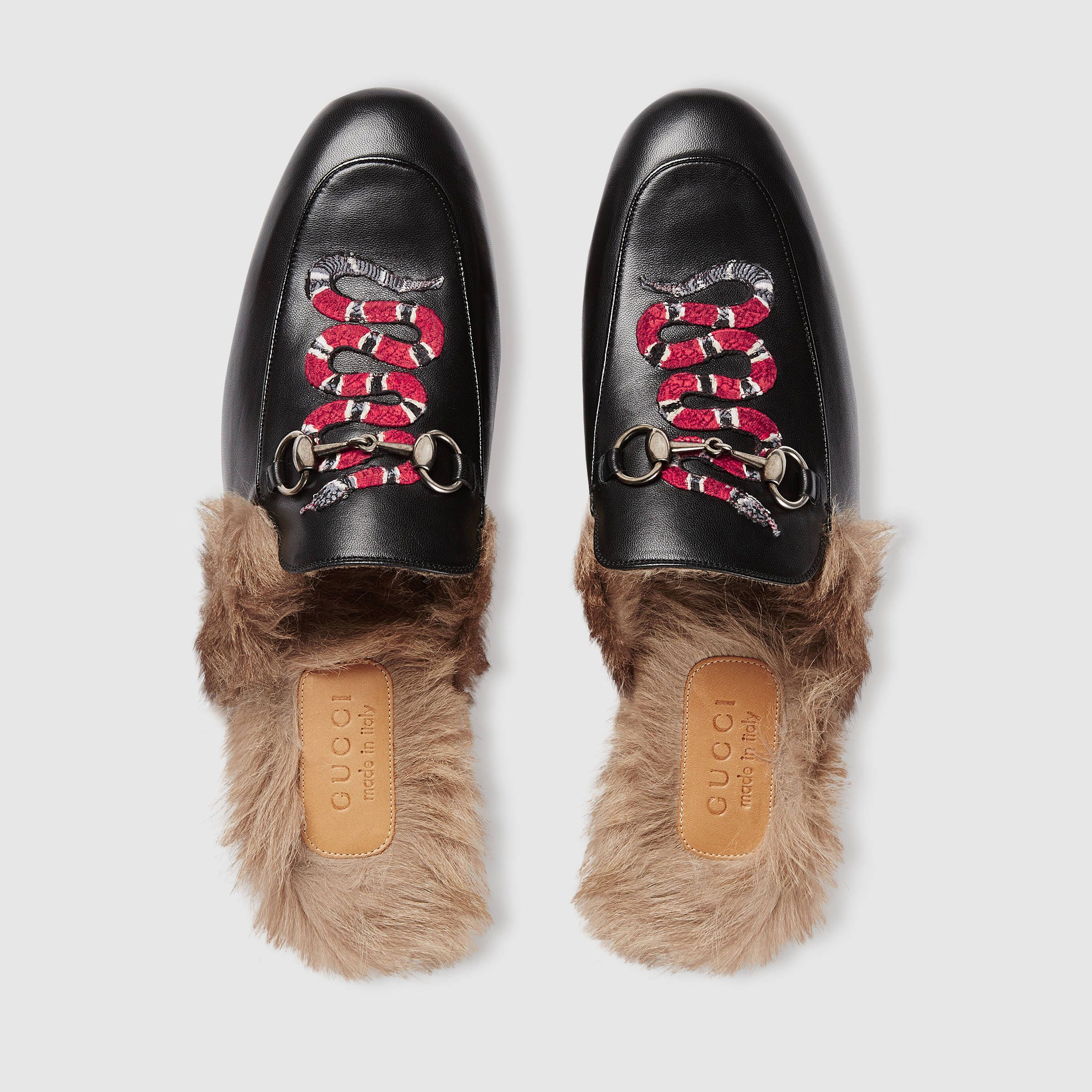 Black Snake Fur Princetown Slippers Gucci