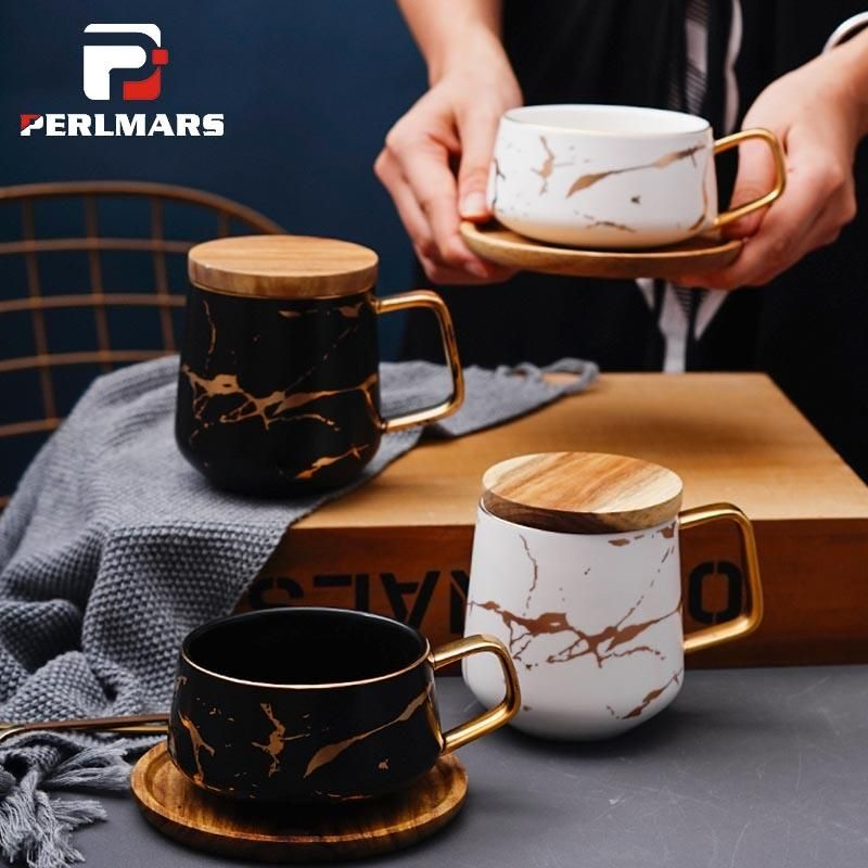 320/400ml Ins Nordic Creative Marble Texture Ceramic Mug Gold Plated Handle Cup Wood Saucer Lid Coffee Cups Breakfast Milk Mugs Coffee Mugs With Pictures Coffee Shop Mugs From Blithenice, $64.44| DHgate.Com #coffeecup