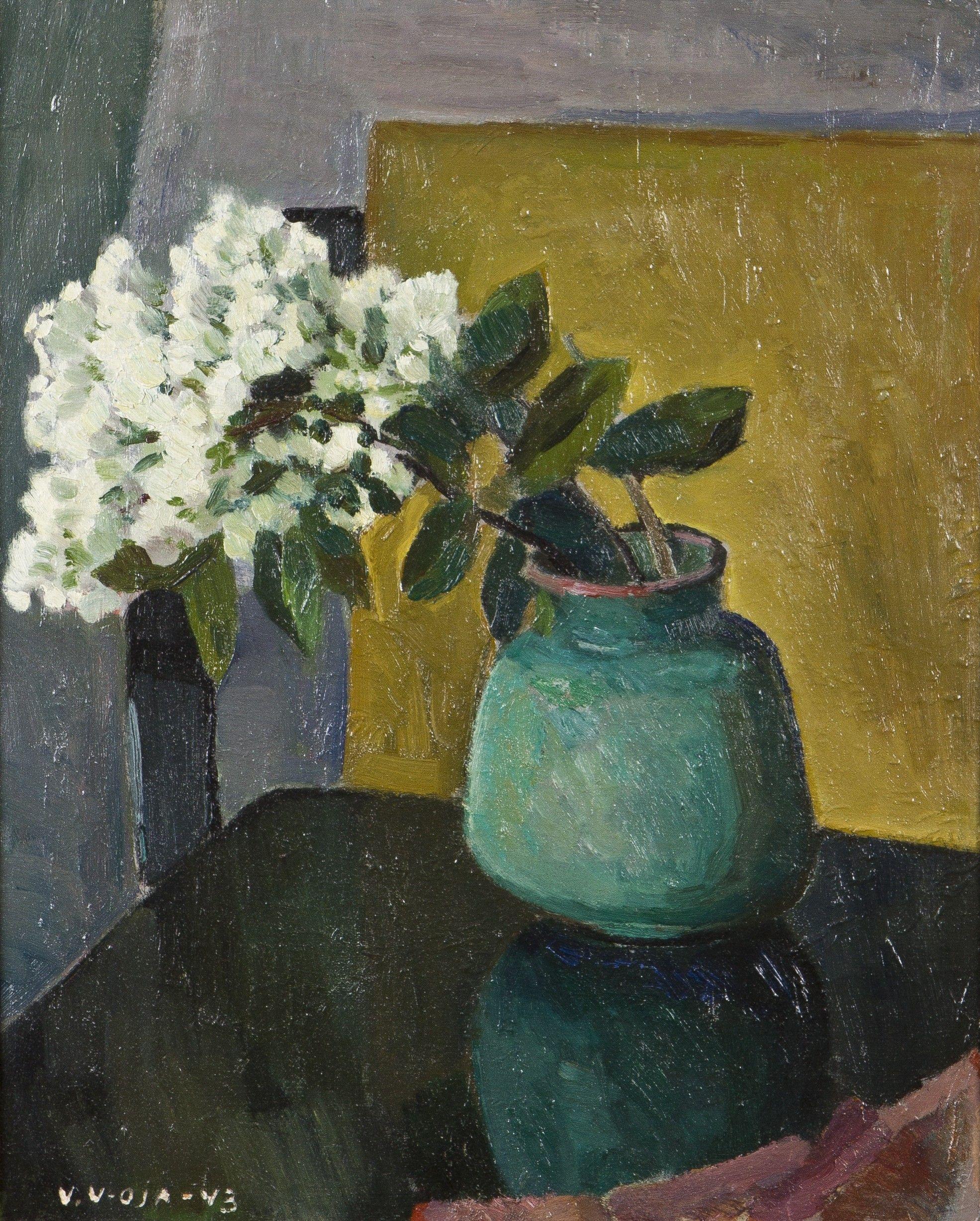 Veikko Vionoja: Syreenejä vihreässä maljakossa, 1943, öly, 39,5x31,5 cm - Hagelstam K141