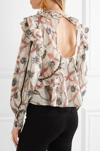 be6f54f42a2 Isabel Marant - Uster Studded Lace-trimmed Printed Cotton Blouse - Ecru - FR