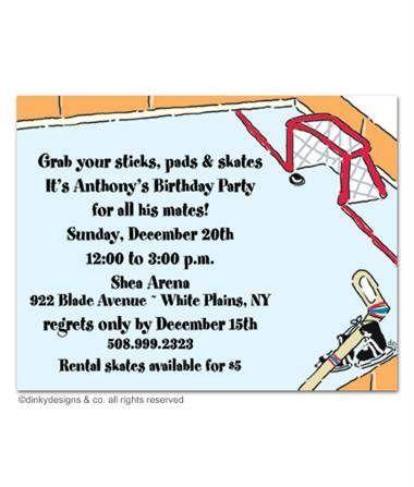 Hockey Birthday Party Invitation FN018H Birthday Party