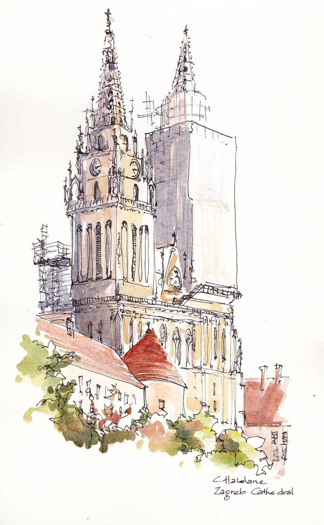 Zagreb Cathedral Croatia Watercolor Architecture Urban Sketching Architecture Sketch