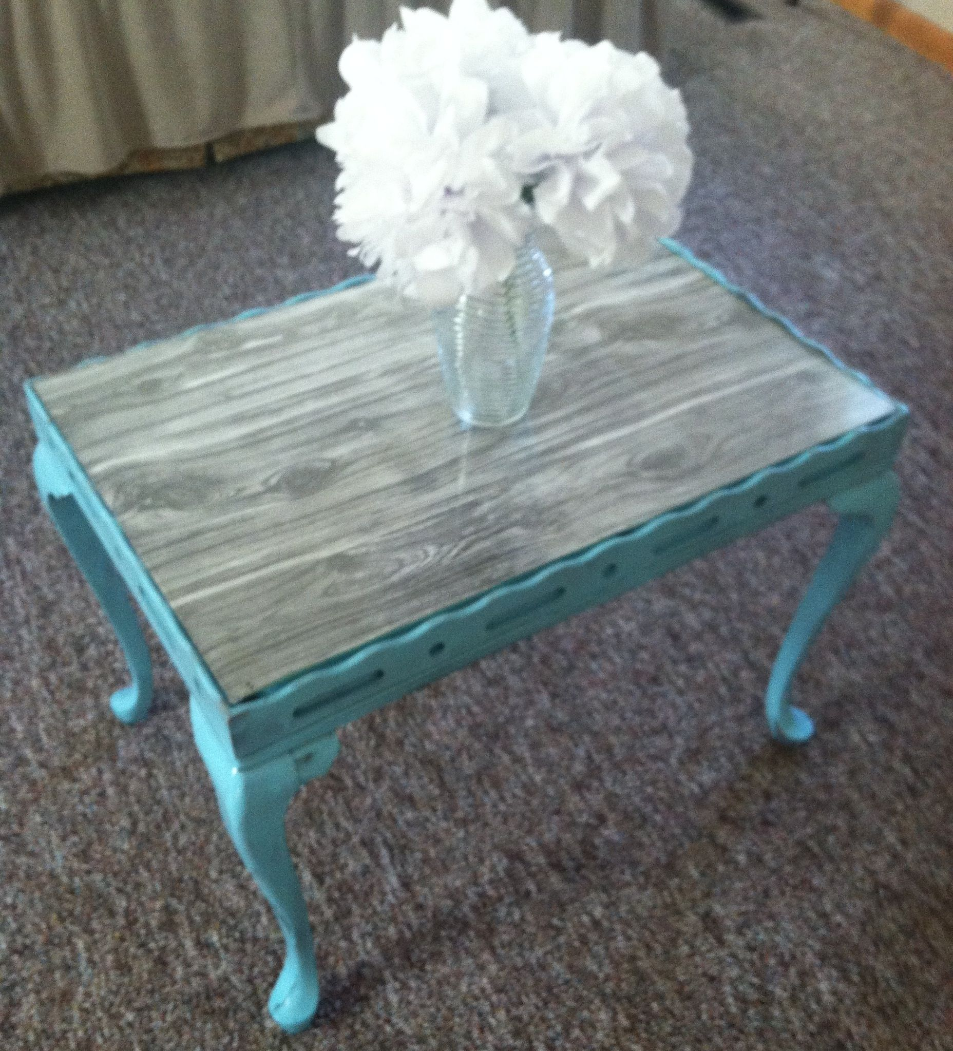 Make an old coffee table pretty again Sand and paint wood attach