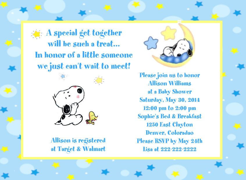 Baby Snoopy Moon and Stars Baby Shower Invitations | Baby snoopy ...