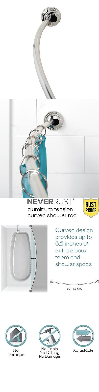 Shower Curtain Rods 168132 Zenna Home Bath Rustproof Curved