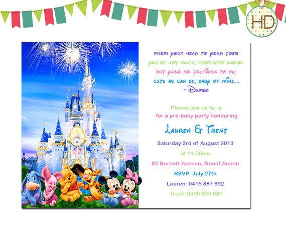 Disney Baby Shower Invitation Disney Castle Baby by HDInvitations, $12.00