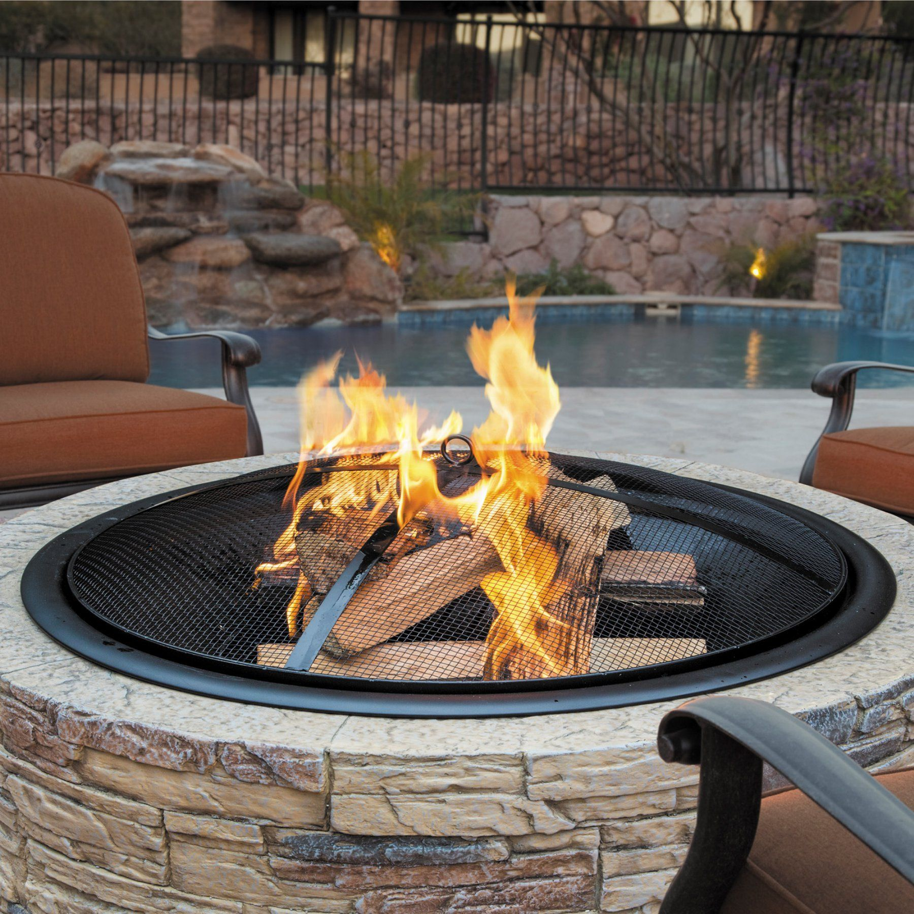 Sun Joe Classic Stone Cast Stone Fire Pit With Dome Screen And Poker Sjfp35 Stn Wood Burning Fire Pit Wood Fire Pit Fire Pit Backyard