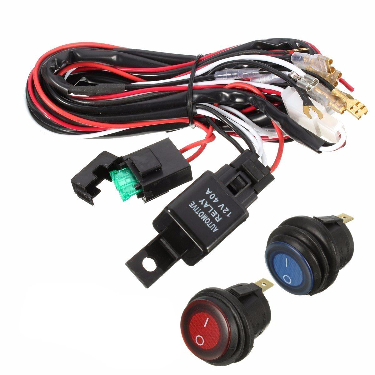 40A 12V LED Light Bar Wiring Harness Relay On/Off Switch For Jeep ...