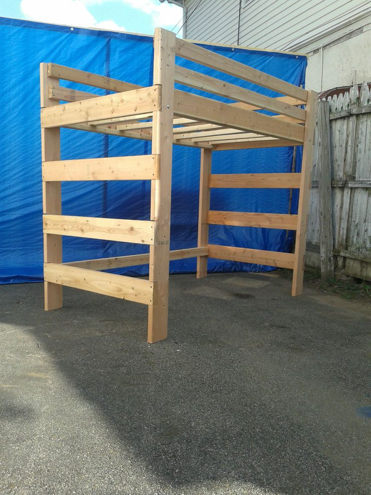 Heavy Duty Solid wood Queen Size Loft Bed With 1000 lb