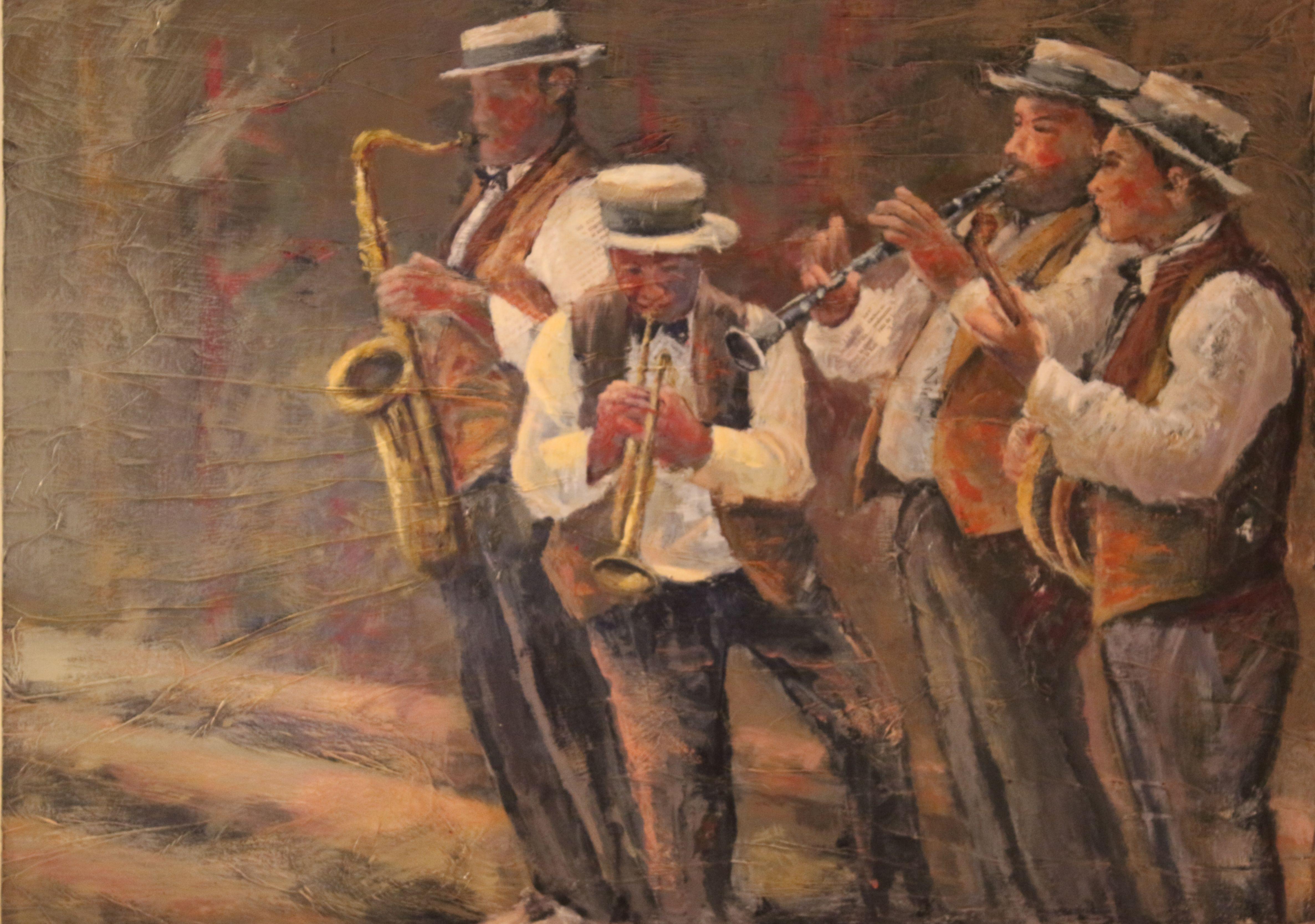 Músicos en Nueva Orleans!. Serie Músicos. #Cuadros #Lienzos #Arte #Pintura