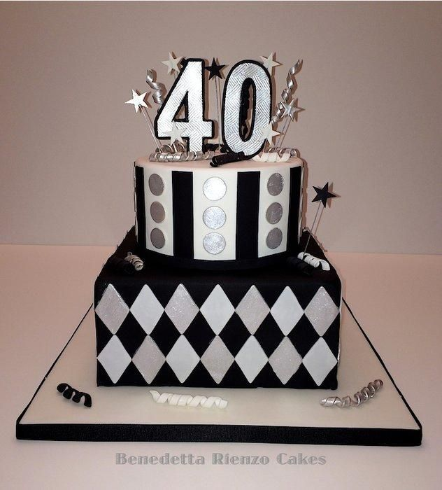Black White And Silver 40th Birthday Cake