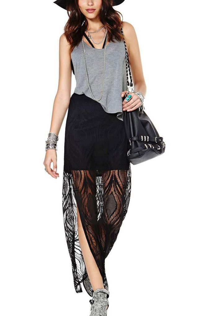 6a76d706297 Sexy Black Lace Side Split See-through Lace Skirt  Sexy  Black Lace  Skirt   Summer  Fashion