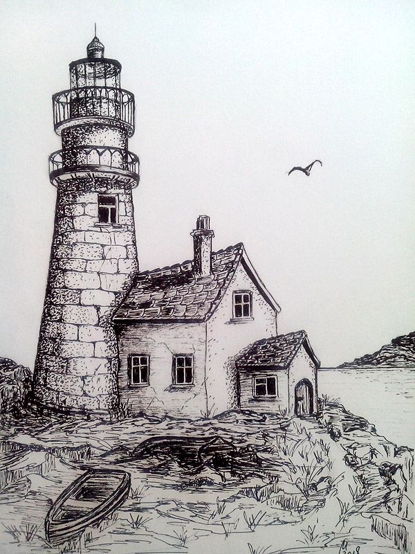 Boats Near Lighthouse Lighthouse Drawing Landscape Pencil Drawings Landscape Drawings