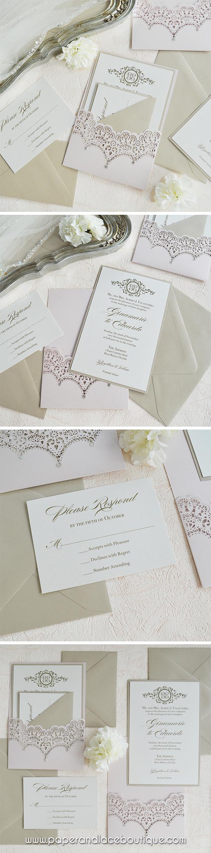 GINAMARIE - Blush Laser Cut Pocket Wedding Invitation with Swarovski ...