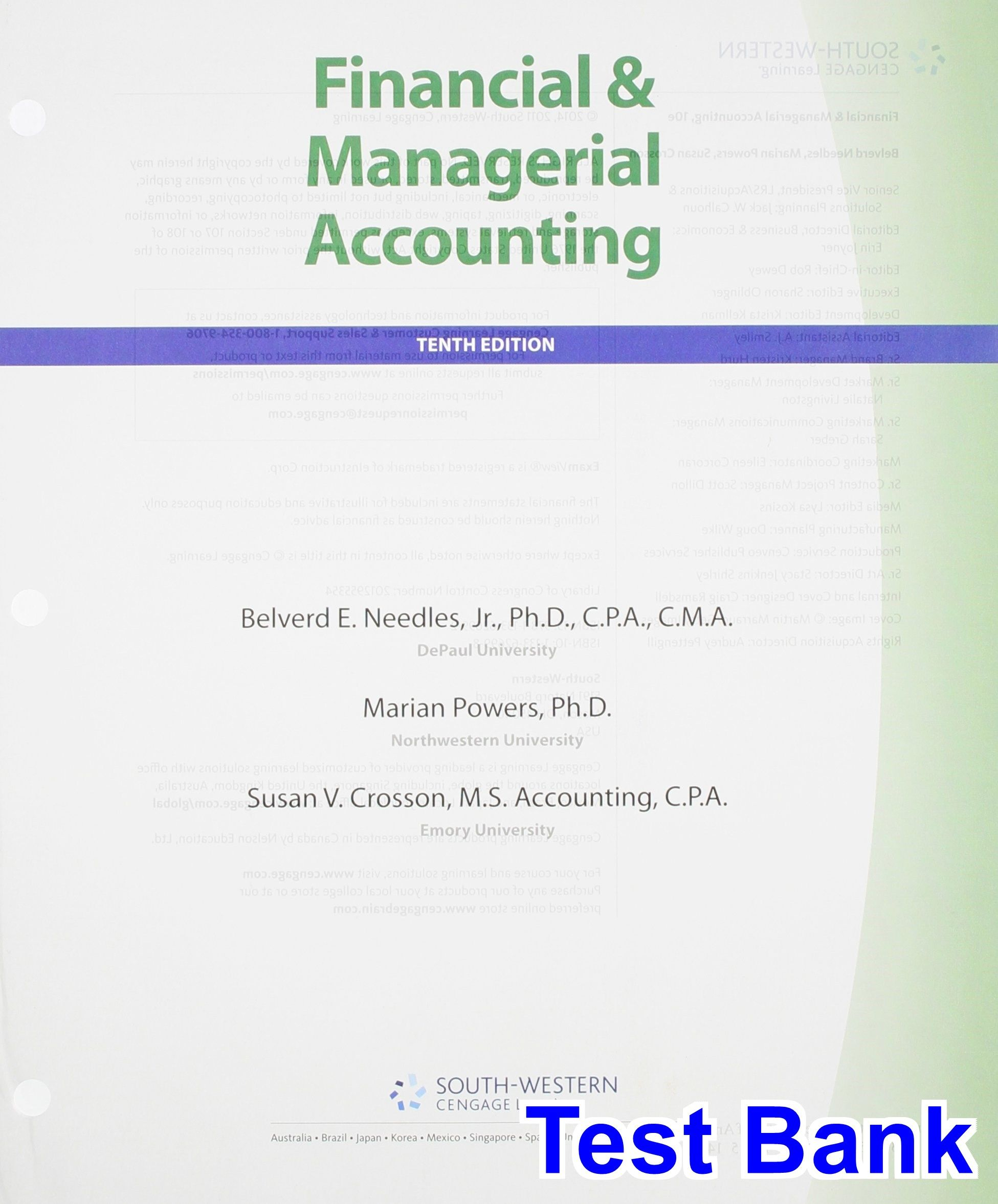 Financial and Managerial Accounting 10th Edition Needles Test Bank - Test  bank, Solutions manual,