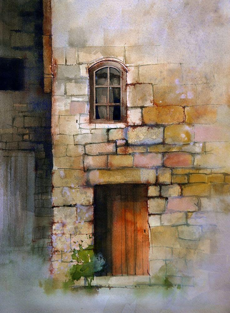 mur john lovet pierres peinture l 39 aquarelle peinture aquarelle et aquarelle et encre. Black Bedroom Furniture Sets. Home Design Ideas
