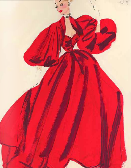 Attributed to the Fashion House of Jacques Heim, c.1 9 4 0, glamourous rouge royal slipper satin ball gown.