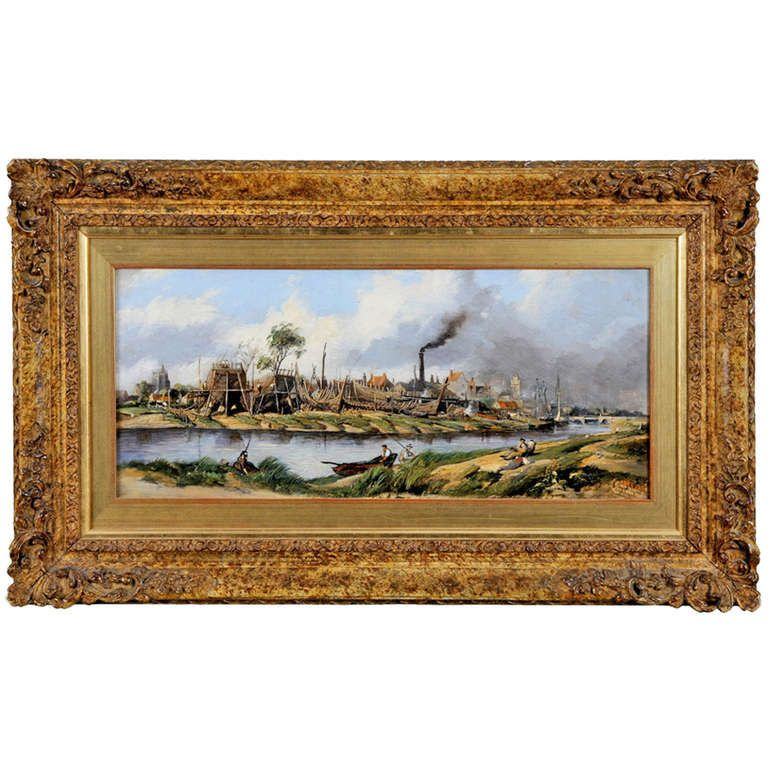 19th Century Oil Painting 'Shipbuilding by a River' - http://bit.ly/1JYvyN3