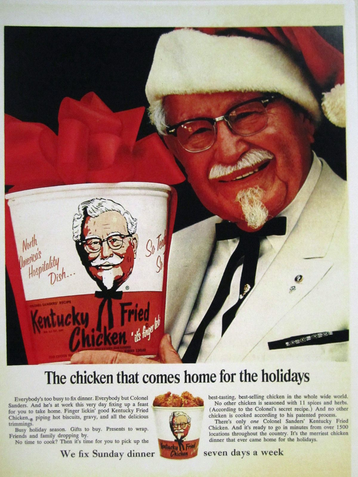 Who Is The Christmas Colonel Sanders 2020 Vintage 1960's Advertising Store Sign Ad Christmas KFC COLONEL