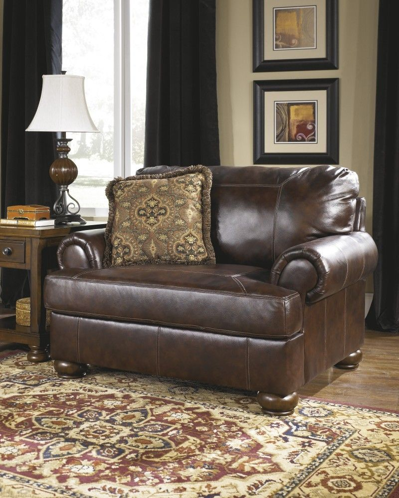 Axiom walnut brown leather chair and a half chair and a