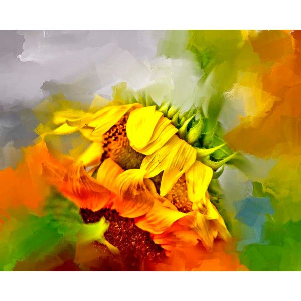Flower, Sunflower, Red, Orange, Yellow Flower, Green, Painted ...