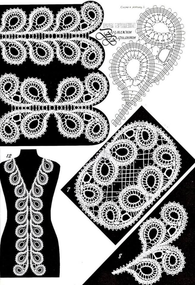 кружевные узоры, кайма #irishcrochetmotifs irish crochet motifs - #irishcrochetmotifs
