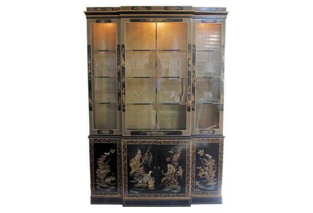 Drexel Chinoiserie Cabinet Classical Gal Tall Cabinet
