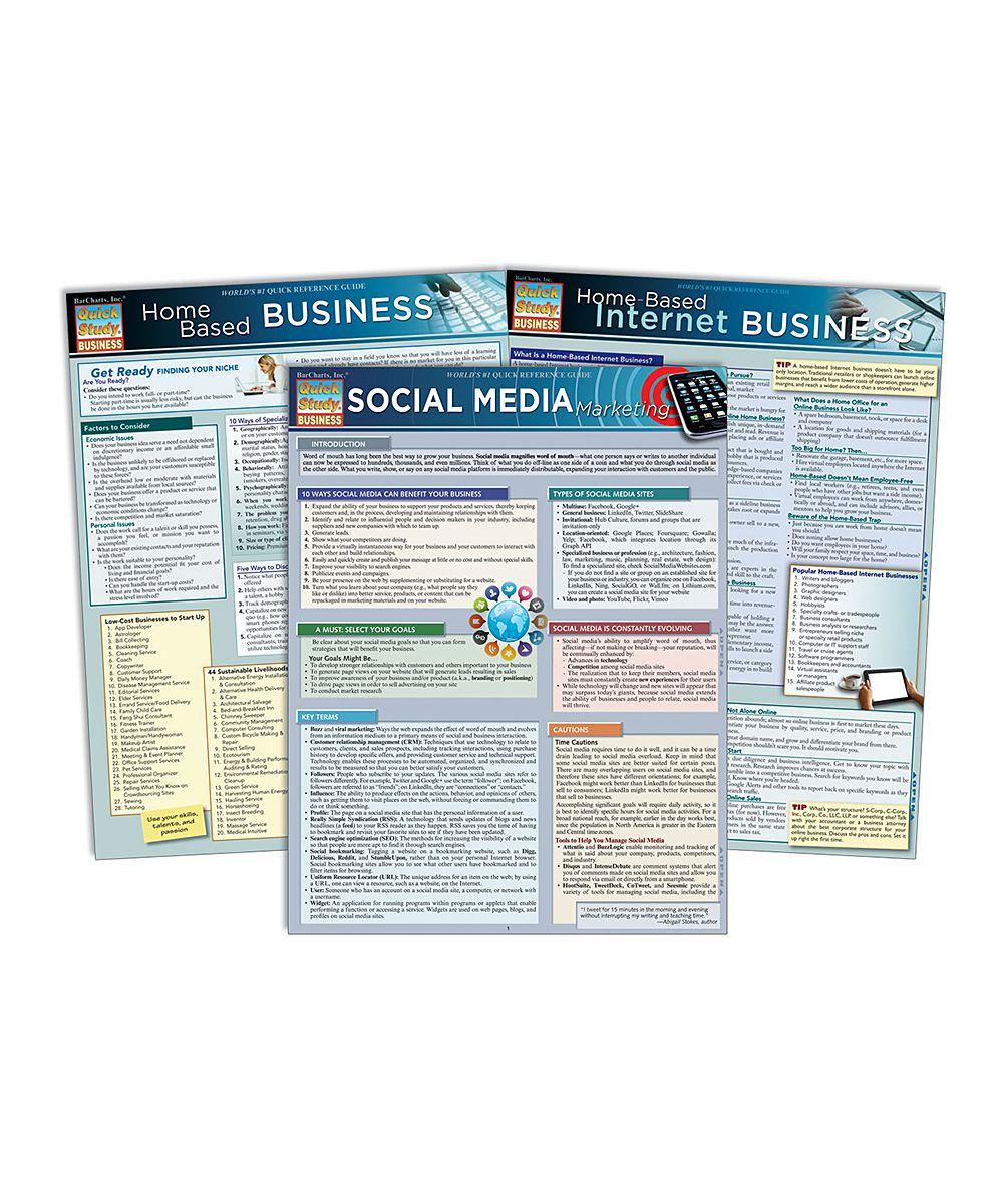 Social Media, Home & Internet Business Reference Sheet Set