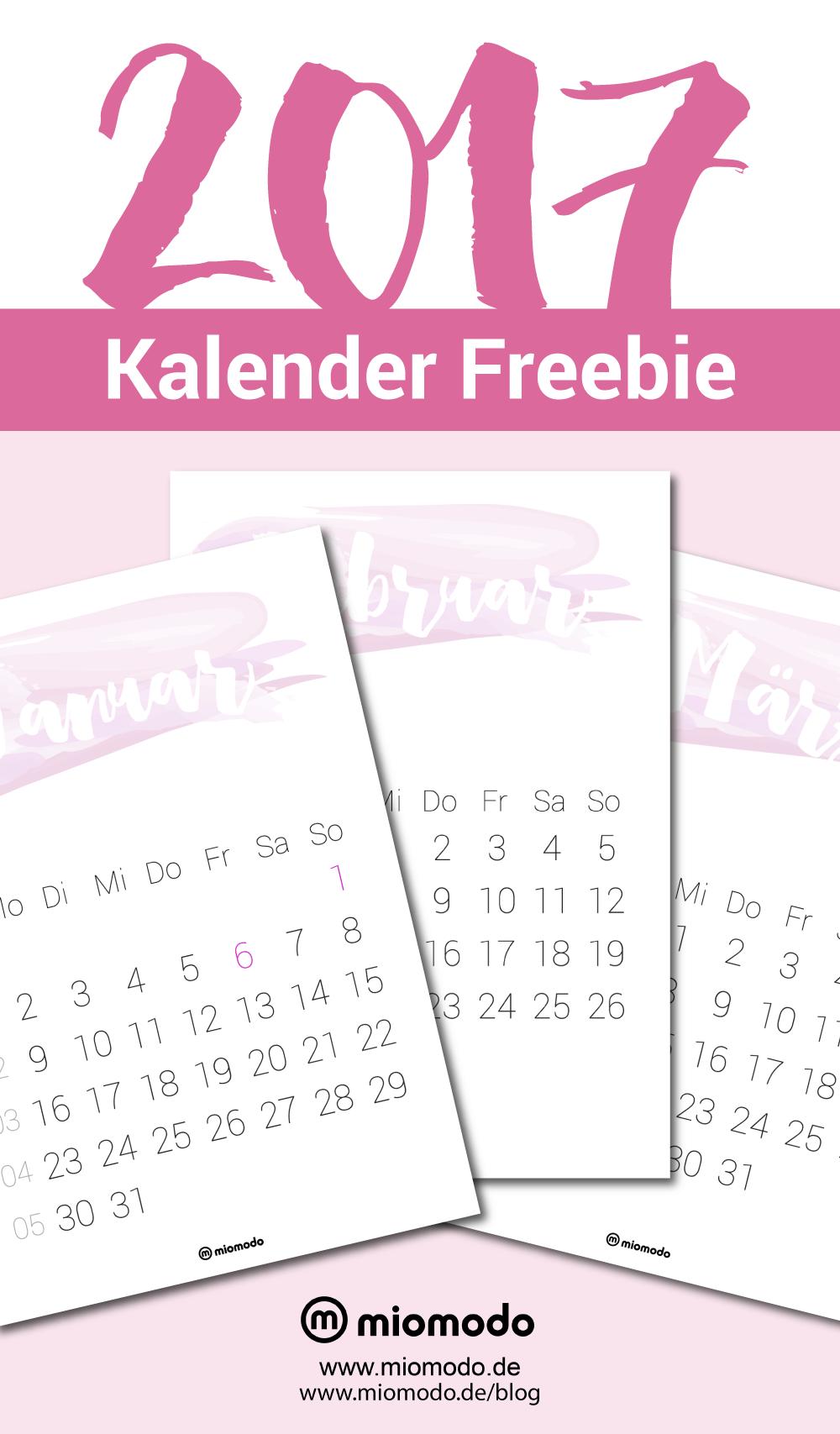 Kalender 2017 zum Ausdrucken - PDF Vorlage | Kalender 2017 ...