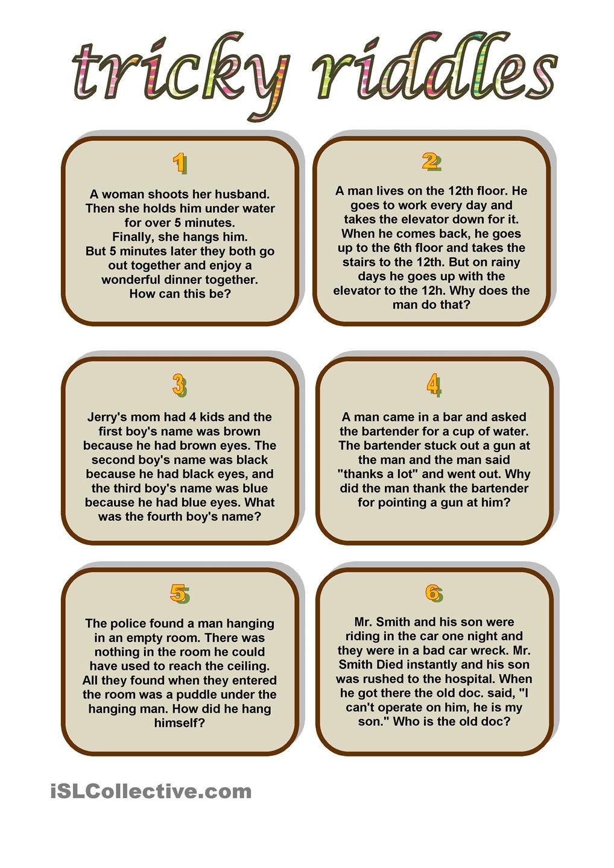 tricky riddles riddles pinterest tricky riddles worksheets and printable worksheets. Black Bedroom Furniture Sets. Home Design Ideas