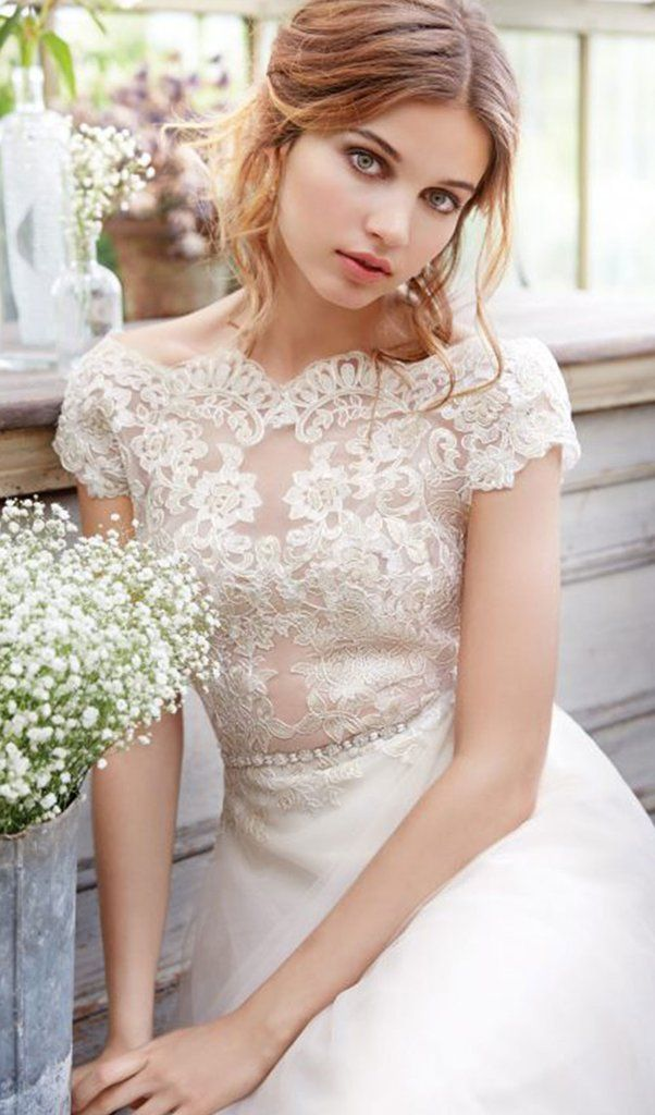 Ivory Gold Natural Waist Gown Alencon Lace Bodice And Illusion Bateau Neckline Capped Sleeves Deep V Scalloped Back A Line Skirt With