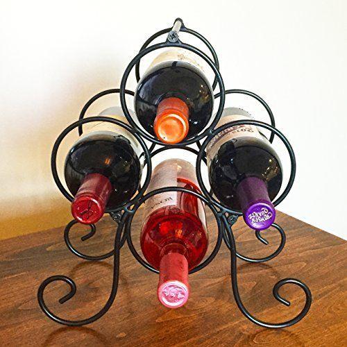 Superiore Livello Roma 4 Bottle Countertop Wine Rack Metal Wine