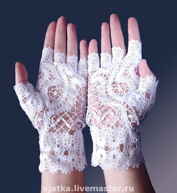 Свадебные кружевные перчатки ручной работы - кружево на коклюшках, перчатки, митенки, аксессуары, белый, мулине, лён / Wedding gloves handmade lace