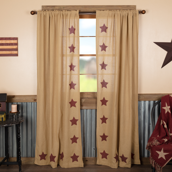 Primitive Burlap With Burgundy Stencil Stars Country Curtain Panels In 2020 With Images Country Curtains Panel Curtains Americana Living Rooms