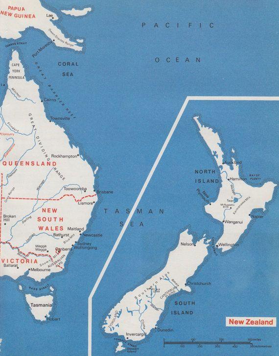 vintage australia nz map chart graphic map by vintageandnostalgia 2095
