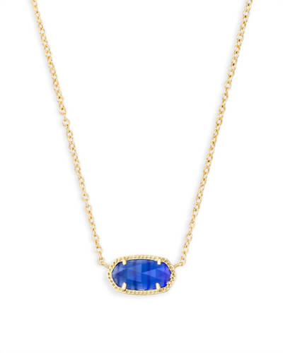 Elisa Pendant Necklace In Cobalt Cats Eye Gold Pendant Necklace Pendant Necklace Opal Pendant Necklace